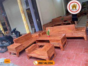 sofa 2 văng chân quỳ gỗ hương xám đá SG62