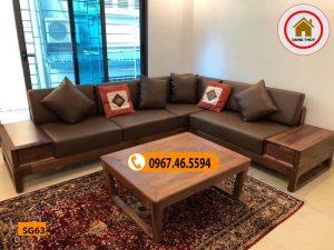 Bộ ghế sofa chân quỳ gỗ óc chó SG63