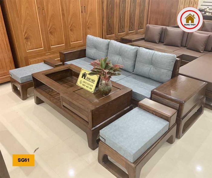 sofa chân quỳ gỗ sồi Nga đẹp SG61