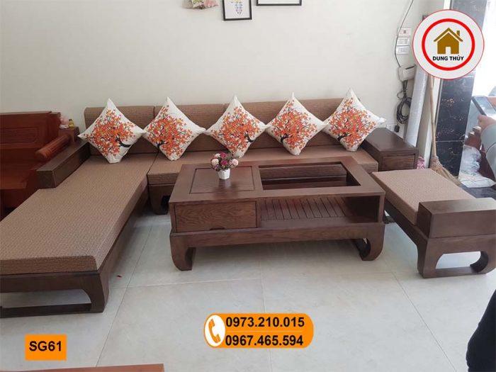 sofa góc chữ L gỗ sồi Nga SG61