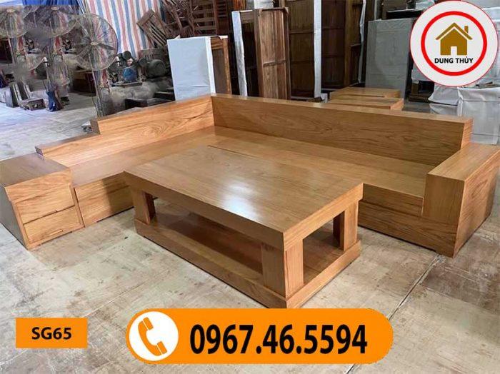 Bộ ghế sofa giả nguyên khối gỗ gõ đỏ SG65