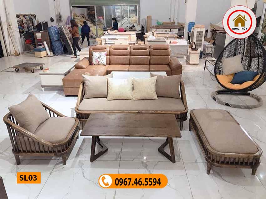 Ghế salon kiểu giường kèm 1 bàn gỗ sồi Nga SL03