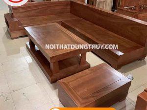 Bộ ghế sofa góc chữ L nguyên khối gỗ xoan đào SG66