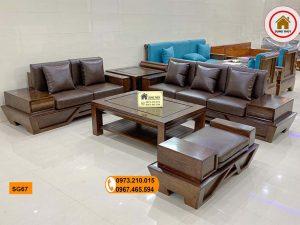Bộ ghế sofa 2 văng chân thuyền vát gỗ sồi Nga SG67