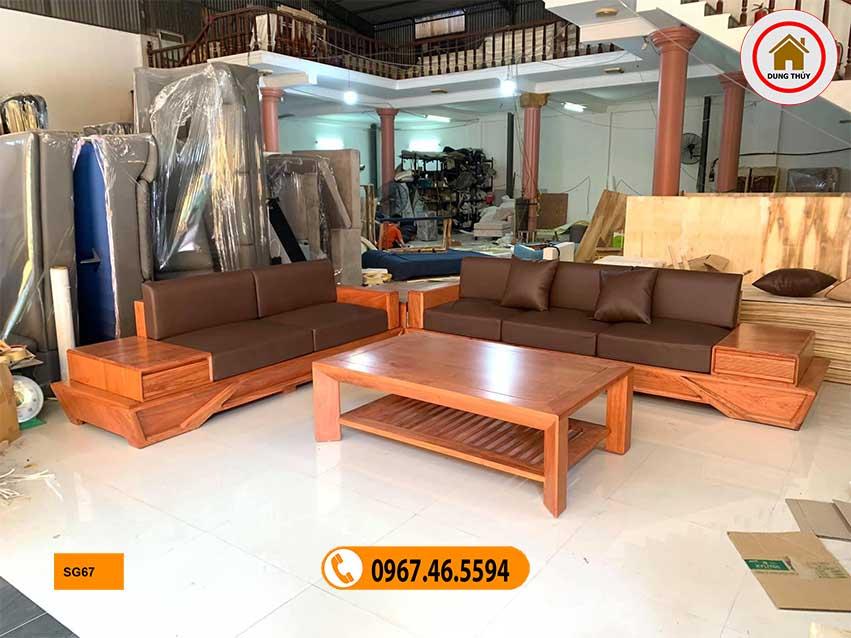 sofa chân thuyền 2 văng gỗ sồi Nga SG67