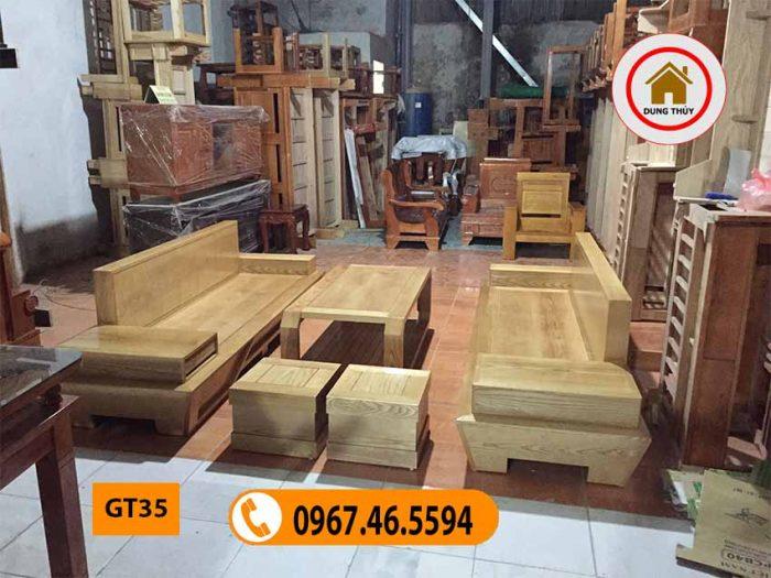 Bộ ghế đối chân thuyền gỗ sồi Nga GT35
