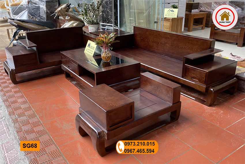 Bộ ghế sofa 2 văng hình đùi gà gỗ sồi Nga SG68