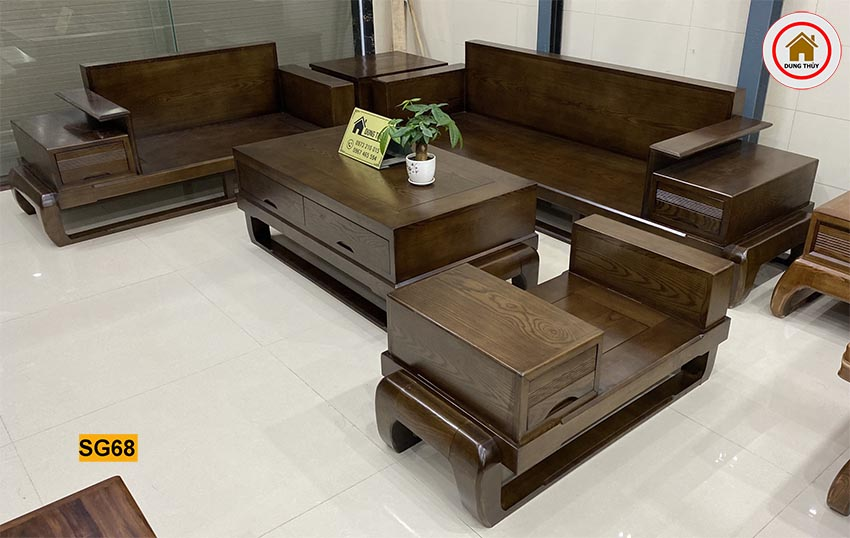 bộ sofa 2 văng chân đùi gà gỗ sồi SG68