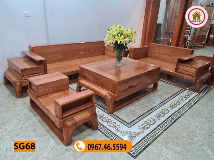 sofa 2 văng đùi gà gỗ sồi Nga SG68
