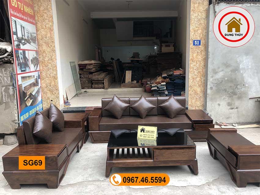 bộ ghế sofa 2 văng chân thuyền vát gỗ hương xám SG69