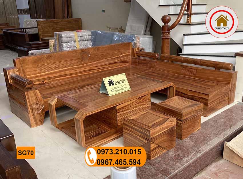 sofa góc kim cương gỗ hương xám đẹp SG70