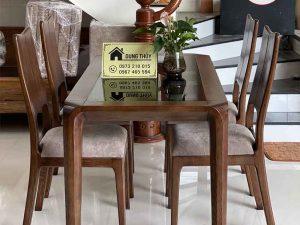 bàn ăn 4 ghế lá khế gỗ sồi BA26