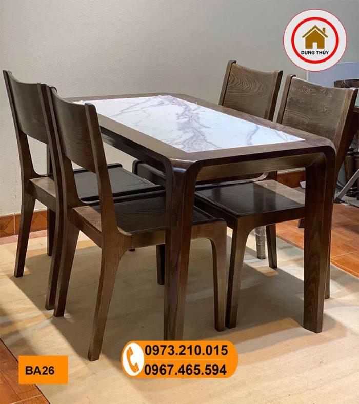 Bộ bàn ăn 4 ghế gỗ sồi Nga mặt đá nhân tạo hình chữ nhật BA26