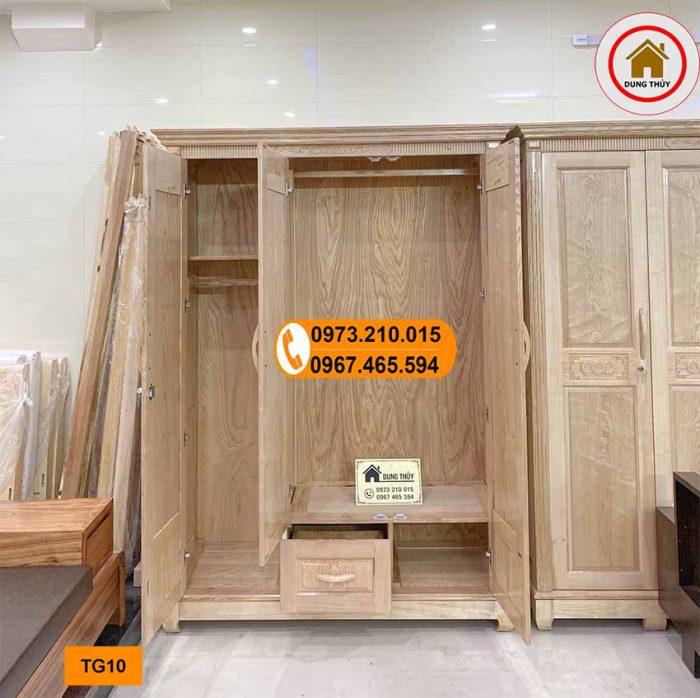 Tủ đựng quần áo 3 cánh 2 buồng gỗ sồi Nga TG10