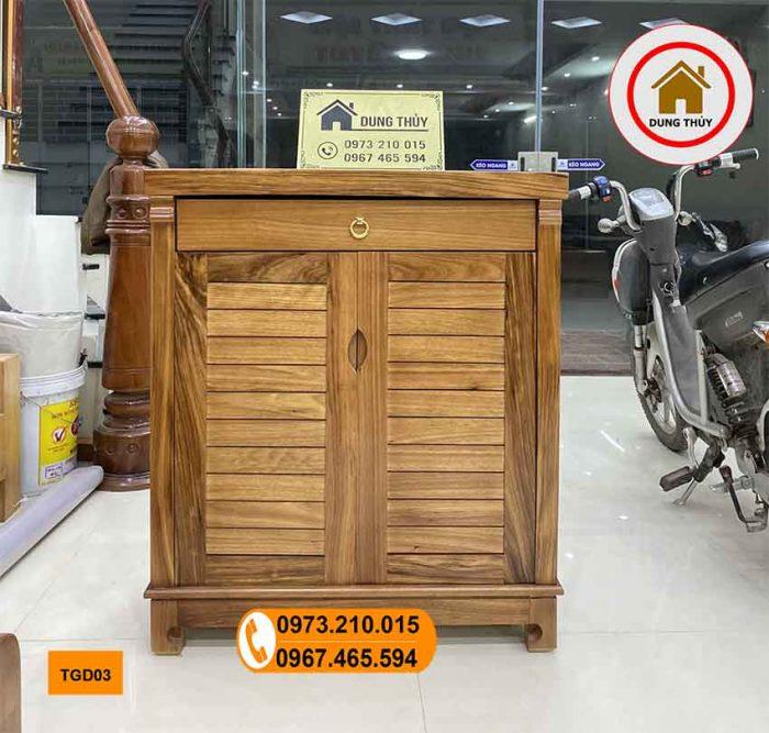 Tủ đựng giầy dép 2 cánh 3 tầng gỗ hương xám TG03