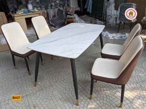 Bộ bàn ăn 4 ghế bọc da nhập khẩu BA27