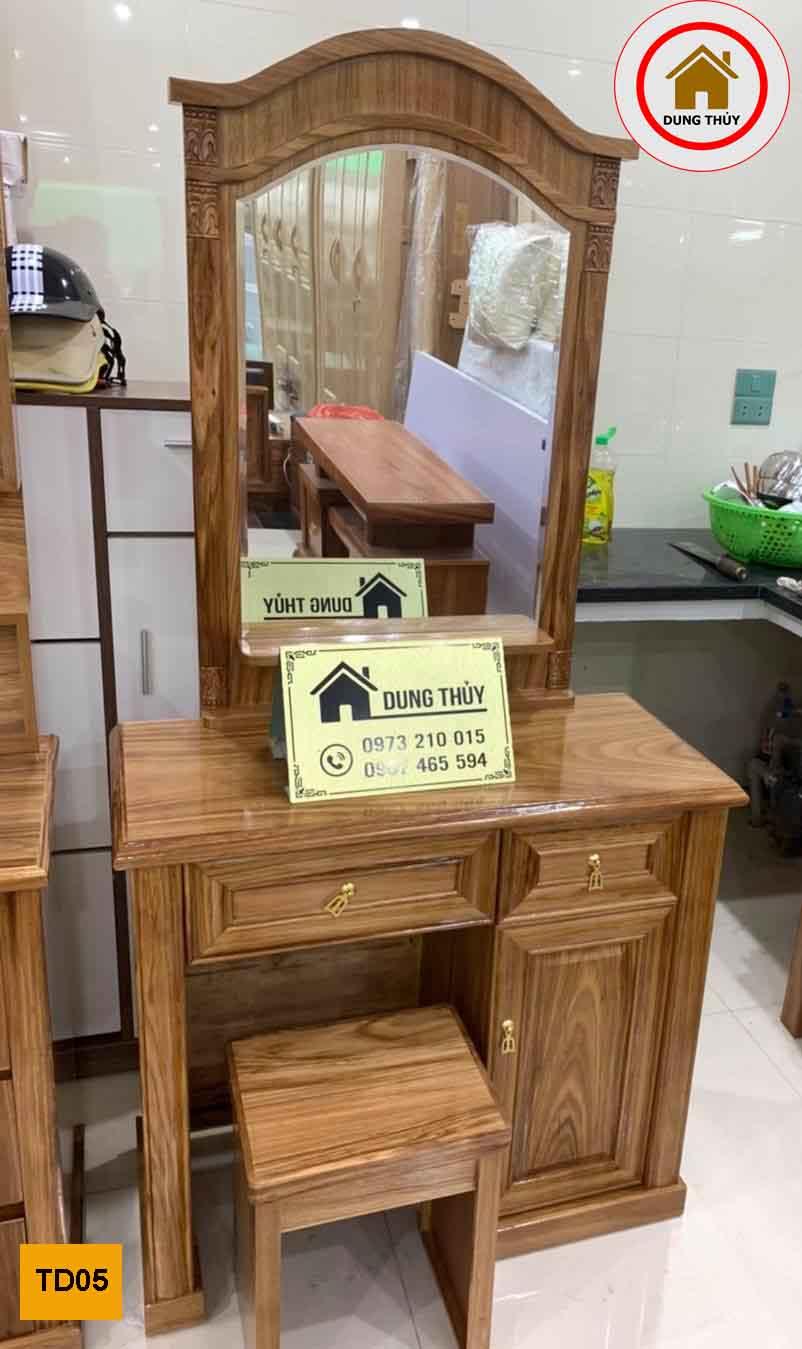 bàn trang điểm gương bầu dục gỗ hương xám TD05