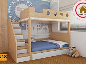 Giường ngủ 2 tầng cho bé gỗ công nghiệp GN18