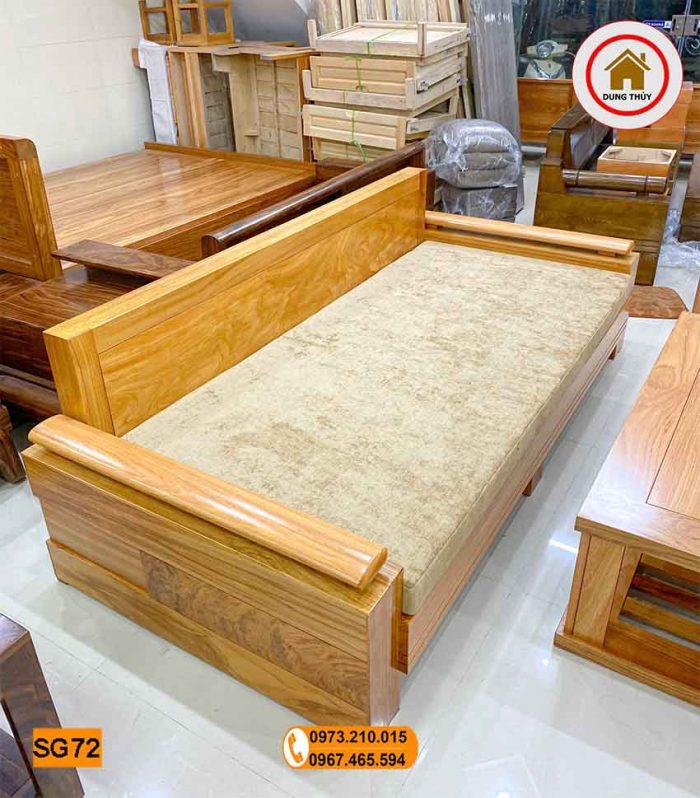 sofa gỗ nhỏ gọn 1 văng 1 bàn gỗ gõ đỏ SG72