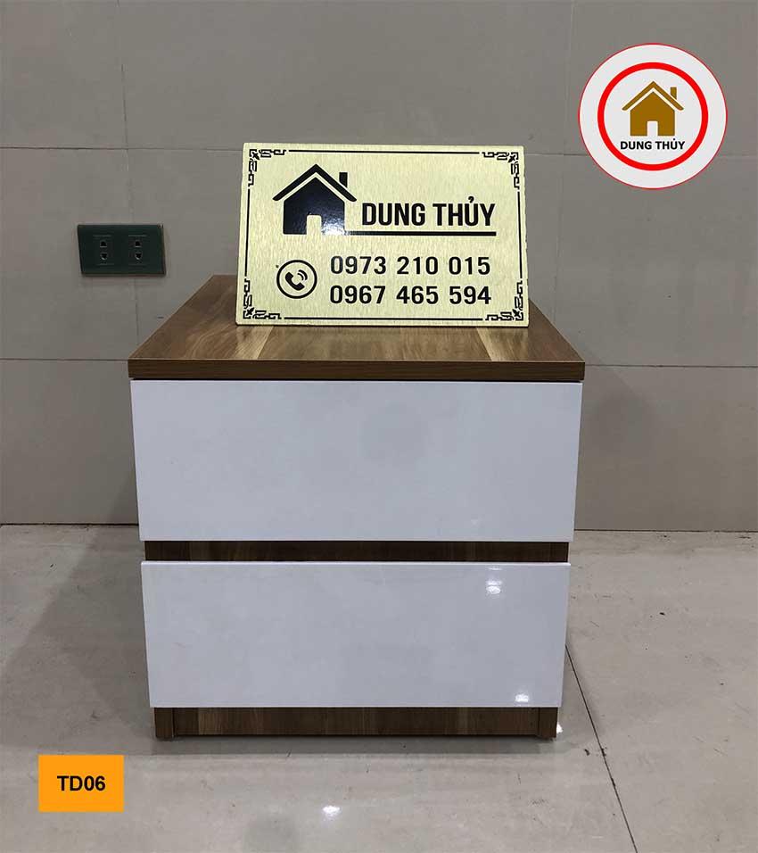 Tab đầu giường 2 ngăn kéo gỗ công nghiệp TD06