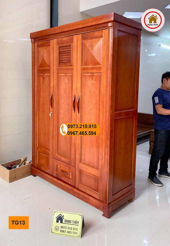 tủ đựng quần áo gỗ xoan đào 3 cánh TG13