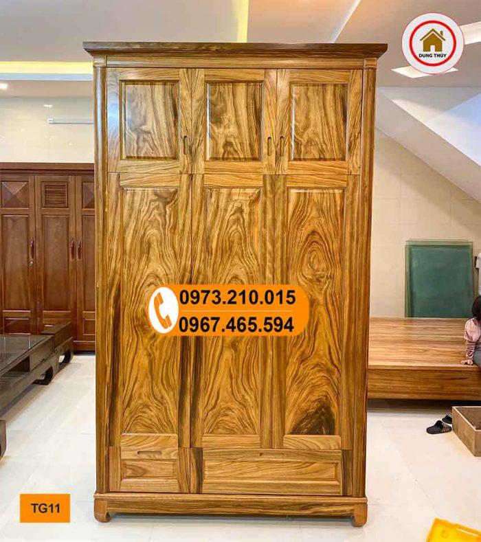 Tủ đựng quần áo gỗ hương xám 3 cánh kịch trần TG11