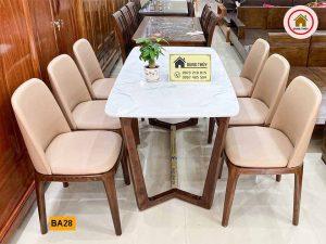 Bộ bàn ăn 6 ghế bọc da mặt bàn đá nhân tạo BA28