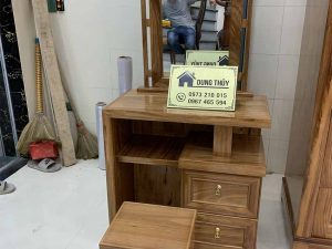Bàn trang điểm 2 ngăn kéo gỗ hương xám TD09