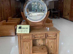 Bàn phấn trang điểm nghệ thuật dạng gương tròn gỗ hương xám TD10