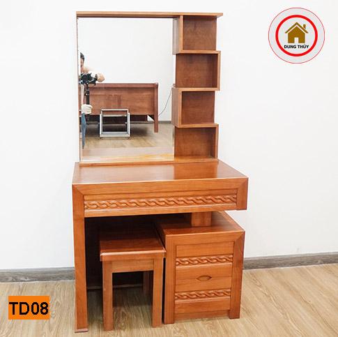 bàn trang điểm gỗ xoan đào 3 ngăn TD08