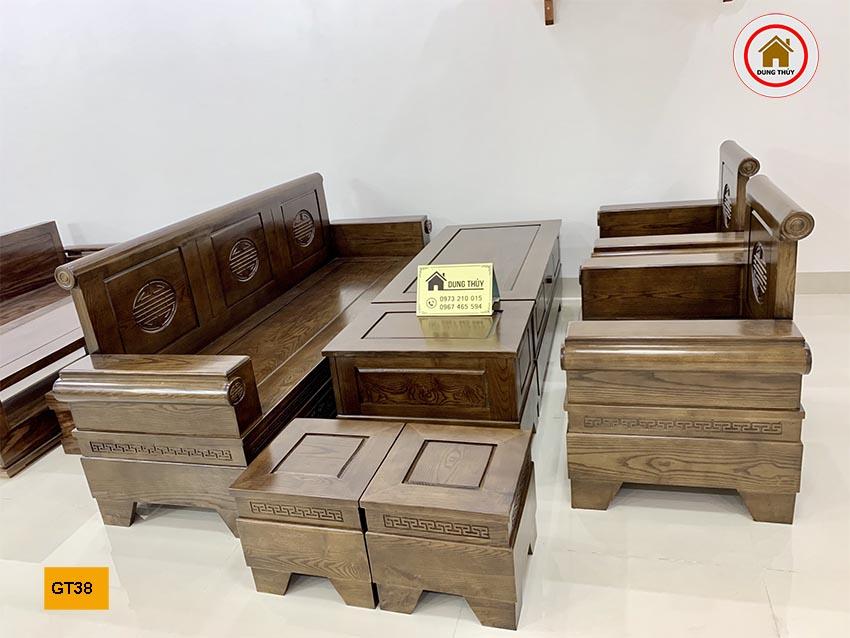 Bộ ghế đối tay pháo gỗ hương xám GT38