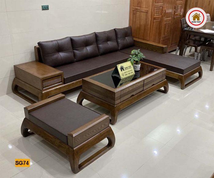 Bộ ghế sofa chân vòng choãi gỗ sồi Nga SG74
