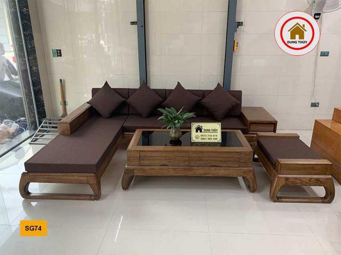 sofa chân vòng gỗ sồi Nga SG74