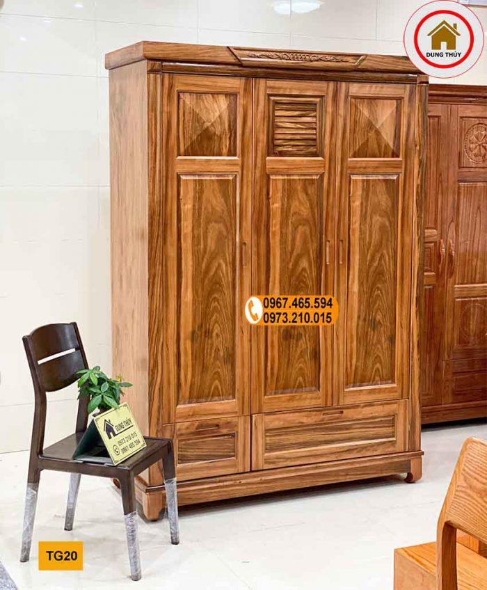 Tủ đựng quần áo 3 cánh 2 buồng gỗ hương xám TG20