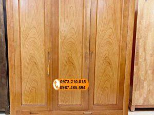 Tủ để quần áo 3 cánh gỗ gõ đỏ TG17
