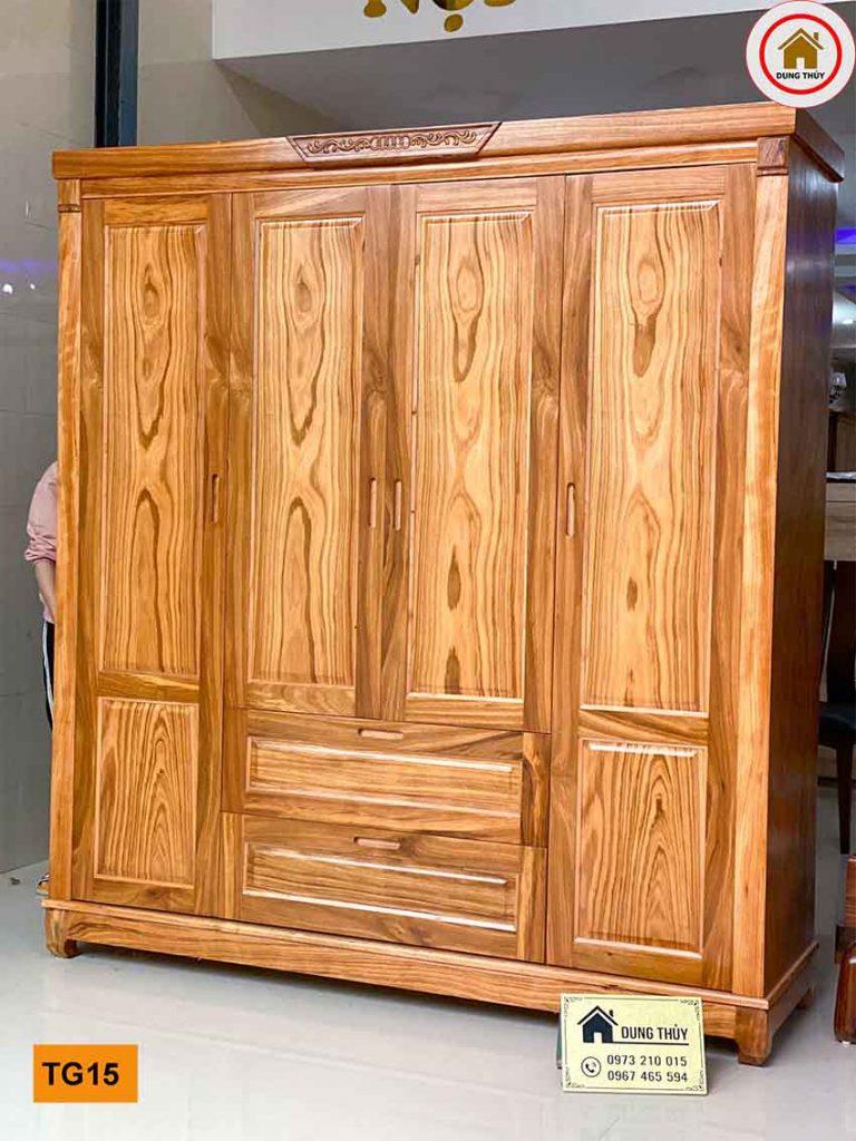 Tủ quần áo 4 cánh 3 buồng gỗ hương xám vàng TG15