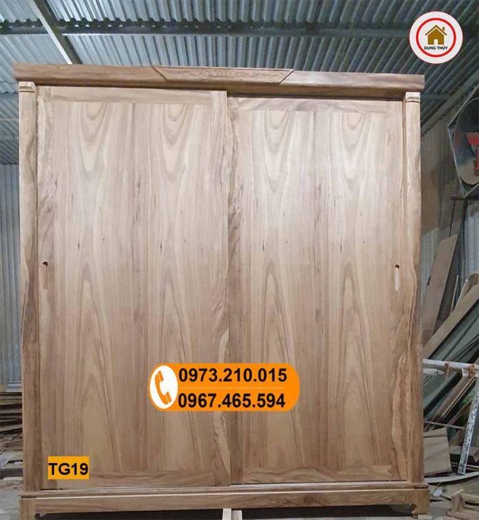Tủ quần áo 4 cánh kiểu cánh lùa gỗ hương xám TG19