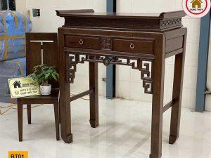 Kệ bàn thờ 2 ngăn kéo gỗ sồi Nga BT01