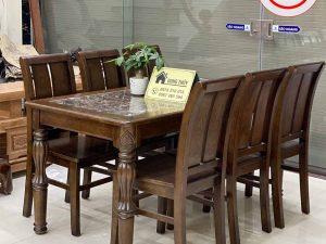 Bàn ăn mặt đá hình chữ nhật 6 ghế lá khế gỗ sồi Nga BA30