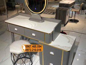 Bàn phấn trang điểm 4 ngăn kéo dạng trượt gương tròn gỗ công nghiệp TD11