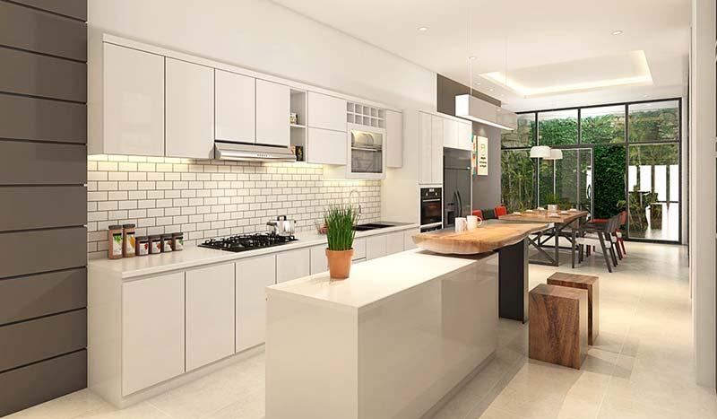 thiết kế nội thất phòng bếp 20m2 màu trắng