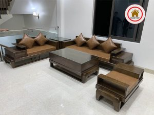 sofa gỗ sồi Nga góc chữ U