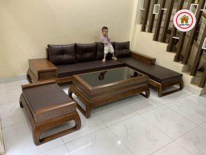 Bộ sofa chân choãi góc chữ L gỗ sồi SG74