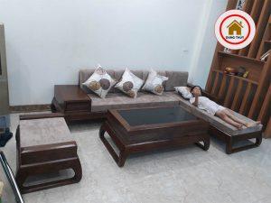 bàn ghế sofa gỗ phòng khách chung cư nhỏ