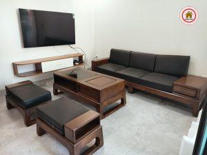 bàn ghế gỗ phòng khách chung cư