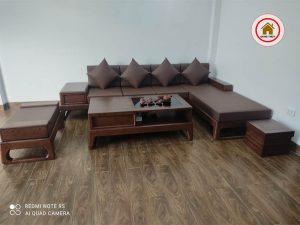 sofa góc chữ L chân quỳ đẹp SG61