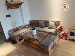 sofa góc cót 3 lá gỗ sồi SG03