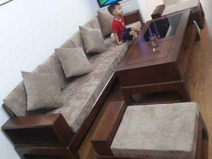 ghế sofa gỗ tự nhiên ở chung cư