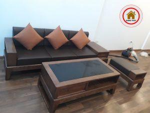ghế sofa gỗ phòng khách cho chung cư