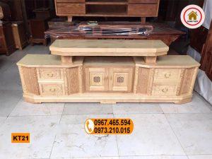 Kệ tivi 6 ngăn kéo dạng vát kiểu cổ gỗ sồi Nga KT21